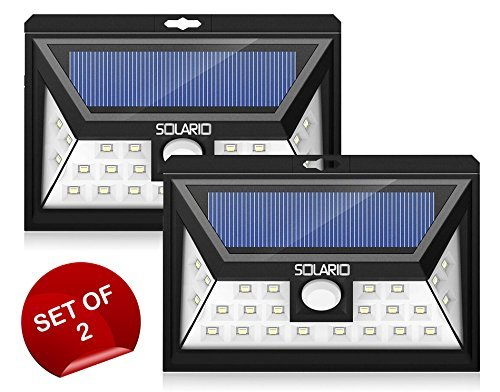 24 LED Wireless Outdoor Security Lights w/ 3LEDs on Sides- Set Of 2- Extra Wide Coverage- Eco Friendly Motion Activated Light- IP65 Waterproof Body- Bright Exterior Flood Lighting (Black)