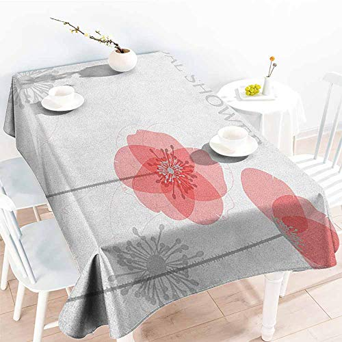 Poppies Modern Printed (familytaste Bridal Shower,Table Cloth Printed Modern Poppy Flower Buds Abstract Shadow Design Floral Arrangement 54