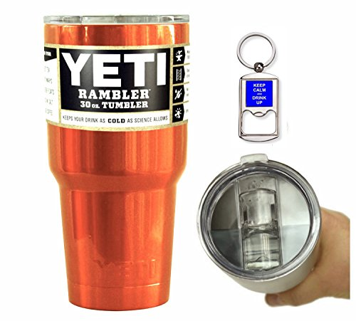 YETI Coolers 30 Ounce (30oz) (30 oz) Custom Rambler Tumbler Cup Mug with Exclusive Spill Resistant Lid (Orange Shimmer)