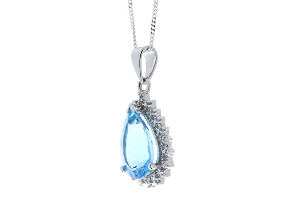 Precious Jewels UK - DIAMOND And Blue Topaz Pear Shaped Pendant 0.01ct 9ct White Gold - Cert AGI y5jXMzO