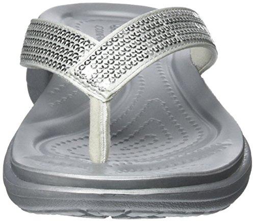 Silver Crocs V Femme Capri Argent Flip Sequin Sandales nZ0aq4