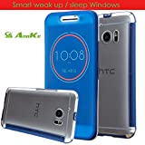 HTC 10 Case, Anoke [Not Wallet] [Shock Absorption] Smart Wake Up / Sleep Quick Ice View Window Case Translucent Silicone and Clear Hard PC Folio Dot View Cover Case For HTC 10 (DOT Deep Blue-1)