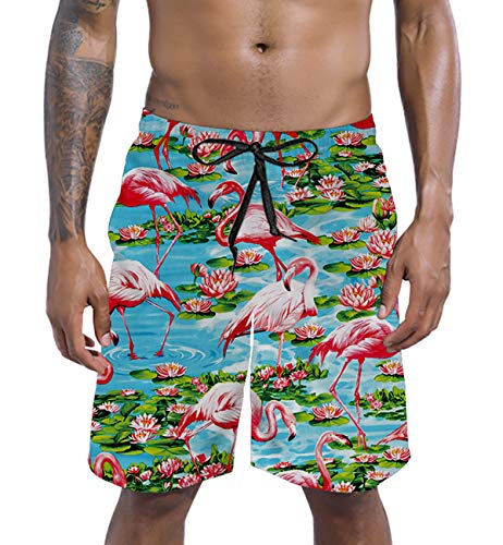 (Mens Big & Tall Swim Trunks Pond Lotus Flower Leaves Flamingo Beachwear Surfing Board Shorts Bathing Suits for Men Male Boy Quick Dry Swim Shorts with Mesh Lining,XX-Large,Flamingo)