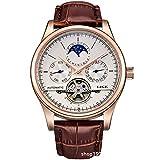 HWCOO Relojes mecánicos LIGE hombres reloj mecánico automático reloj de los hombres de cuero cinturón multifunción resistente al agua relojes reloj tourbillon (Color : 1)