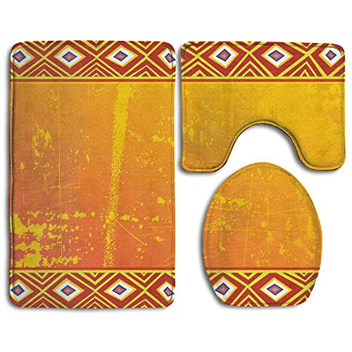 (African Tribal Theme Ethnic African Grunge Ornaments Geometric Pattern Bathroom Rug 3 Piece Bath Mat Set Contour Rug and Lid Cover )