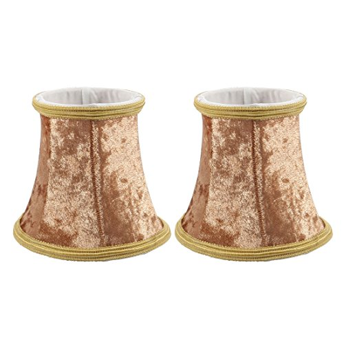 uxcell 2pcs 8.5cm-12cm Dia 11cm Height Cloth Lamp Cover Shade Lampshade Brown