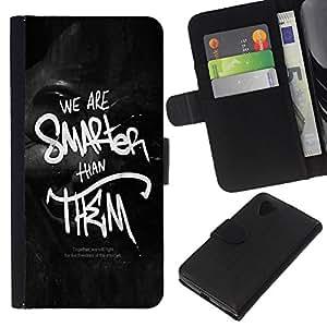 KLONGSHOP // Tirón de la caja Cartera de cuero con ranuras para tarjetas - Somos más inteligentes que ellos - LG Nexus 5 D820 D821 //