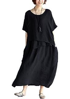 be4fd48a23c Dinier Women s Plus Size Irregular Waist Cotton   Linen A-Line Maxi Long  Dress