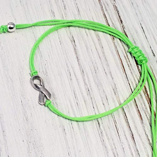 MAY Mental Health Stress Aware Month - Lime Green Friendship Support Bracelet, Small Sterling Silver Handmade Ribbon Shaped Charm. Awareness for Non-Hodgkin's Lymphoma, Lyme Disease. Adjustable