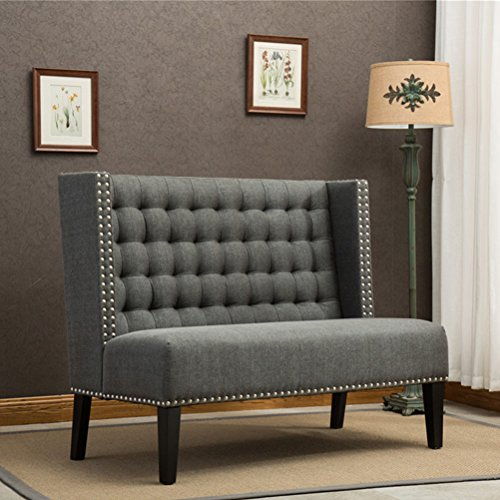 Tongli Modern Settee Banquette Bench Tufted Fabric Sofa Couch chair 2-Seater loveseat with Nail Head Trim (Banquette In Kitchen Seating)