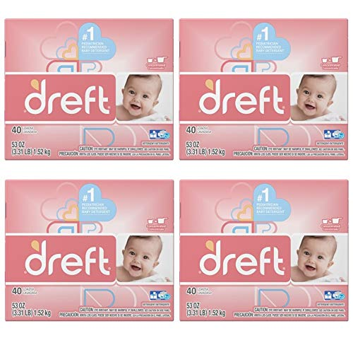 Dreft Baby Original Scent Powder Laundry Detergent,Recommended by Pampers, 40 Loads, 53 oz (Pack of 4) by by Dreft (Image #1)