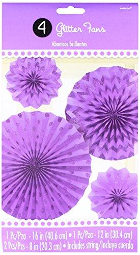 Amscan 295000.106 Glitter Paper Fan, Assorted Size, Purple