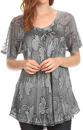 Corset Floral Embroidered (Sakkas 16788 - Maliky Wide Corset Neck Floral Embroidered Cap Sleeve Blouse Top Shirt - Grey - OSP)