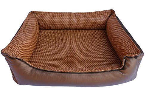 6 Inch Welted (Welted Trim Faux Leather Rattan Mat Dog Cat Small Animal Pet Bed (Coffee - Plain (M)))