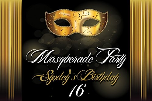 Custom Masquerade Night Party Banner, masquerade mask Banner, Gold and Black Wall Decor Masquerade decor Birthday Banner Party Decoration- sizes 36x24, 48x24, 48x36 Personalized party banner -