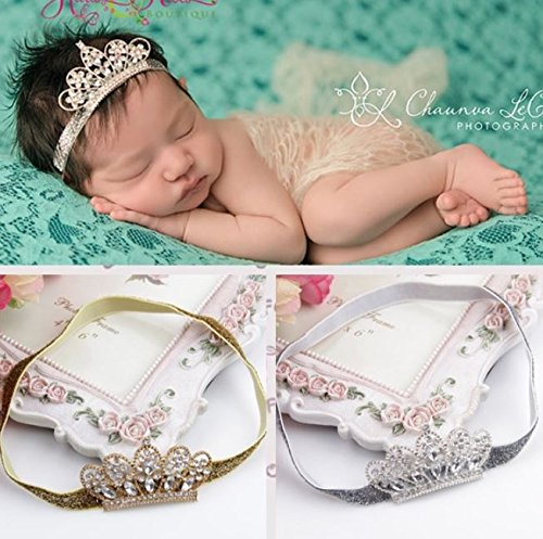 XICHENBaby Girls Crown Headband Newborn Princess Head Band Headdress Elastic Hair Band (Crystal -2Pack)]()
