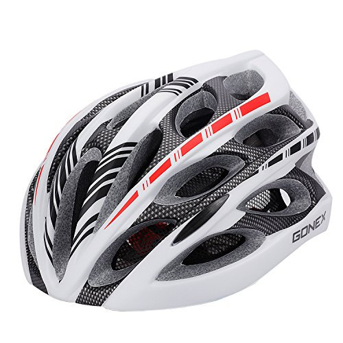 Gonex Adult Bike Helmet, Cycling Road Helmet with Safety Light, 24 Integrated Flow Vents, Adjustable 22.5-24.5 inches (White)