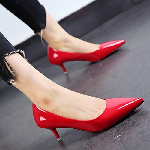 FLYRCX La primavera y el otoño zapatos damas moda patente personalidad tacones zapatos de punta fina comerciante c