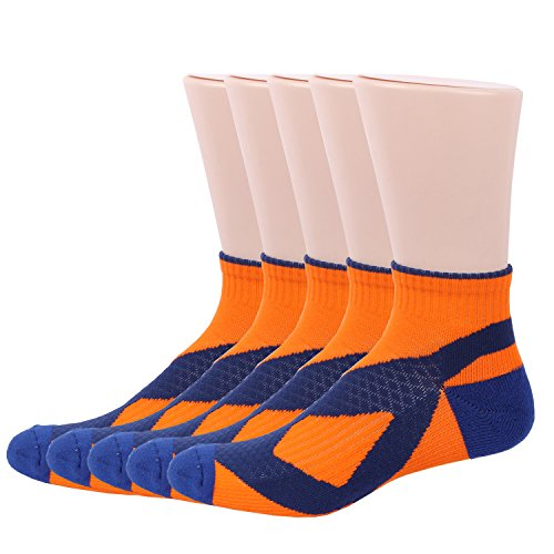RioRiva Men's Athletic No Show Running Socks+Ankle Cushioned Socks - Unisex cushion Thick Padded 5 PACK (US Men 8-12/Women 9.5-11/EU 42-46, MSSK08-5pairs orange)