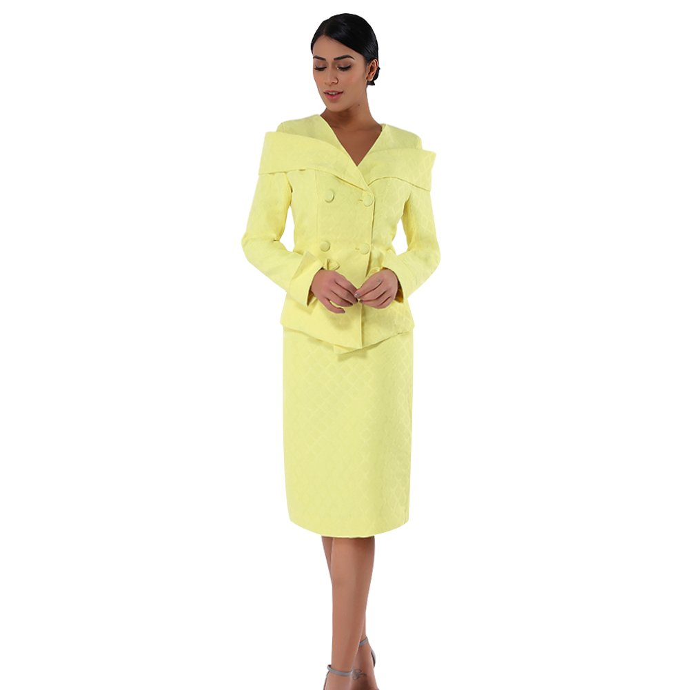503f1919574be Kueeni Women Church Suits with Hats Special Occasion Wedding Party Clothes  Yellow