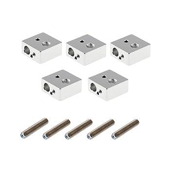 thermor/ésistante pour MK7 MK8 MakerBot imprimante 3d PChero 5 pcs Aluminium extrudeuse Hotend Buse Gorge Bloc de chauffage avec 10 pcs 2 mm d/épaisseur Coton
