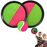 Velcro Catch Ball Set - Self Stick Toss and Catch Sports Family Game with 2 sets of 2 Paddles and Velcro Ball for Ages 3 and Up | Paddle Ballgame with Catch Mitt and Velcro Activity Ball for Outdoors