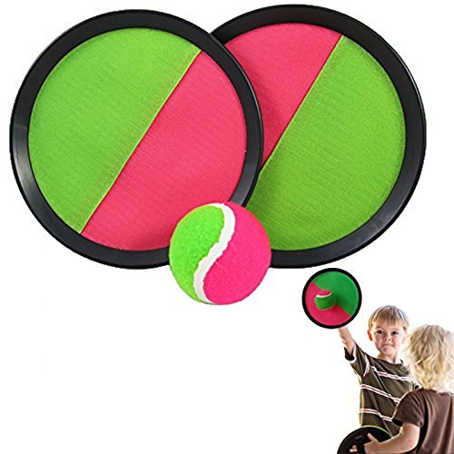 dazzling toys Toss and Catch Ball Set - Self Stick Toss and Catch Sports Game with 1 set of 2 Paddles and Ball for Ages 3 and Up | Kids Paddle Ballgame with Catch Mitt and Activity Ball for Outdoors