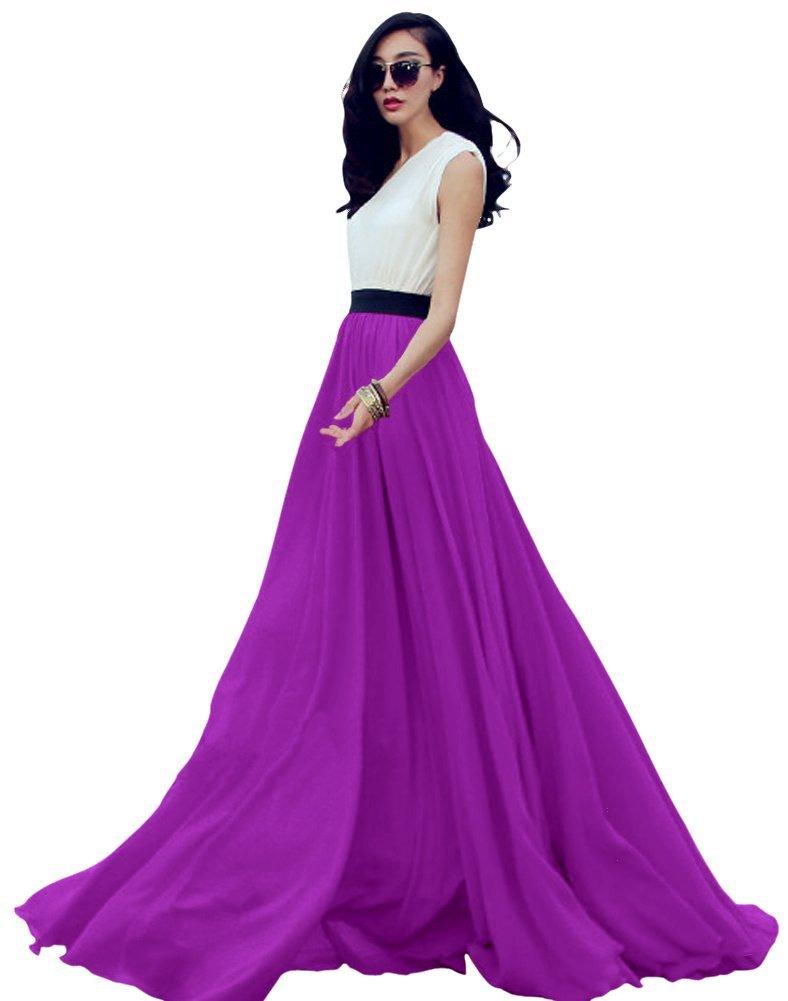 Urban CoCo Women's Summer Chiffon Mopping Floor Length Big Hem Solid Beach Maxi Skirt (Large, Purple)