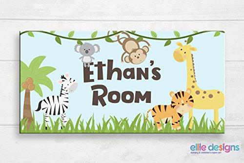 Safari Door Plaque - restore2a Jungle Safari Door Sign Safari Nursery Zoo Animals Kids Door Plaque Baby Name Door Sign Baby Gift Jungle Nursery Art Custom Name