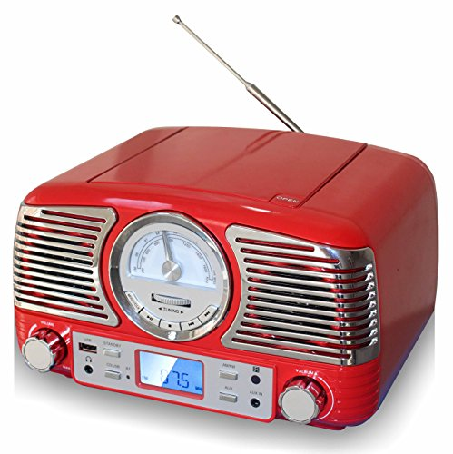 TechPlay QT62BT RED, Retro Design Compact Stereo CD, with AM/FM Rotary knob, Wireless Bluetooth Reception and USB Port. with AUX in and Headphone Jack -