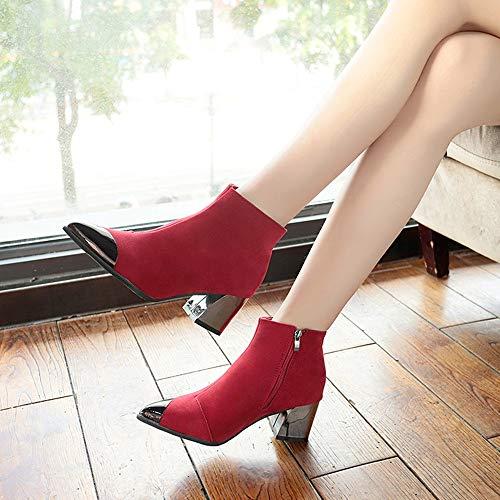 Bottine Hauts Femme Beautyjourney Chaussures Bottes Rouge De Boots Troupeau Solde Anna Field Martin Boot Zip Talons Chaussure Neige Élégant Plastique OZwIO