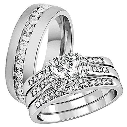 heart wedding ring set - 9