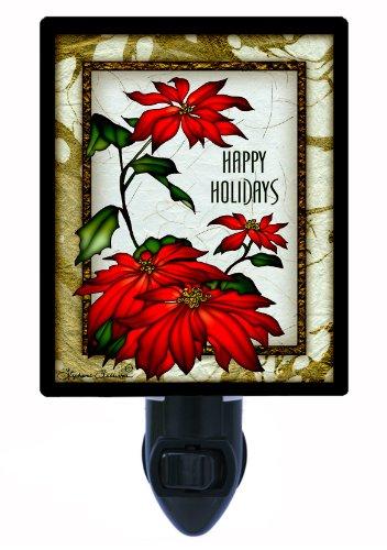 Christmas Night Light - Happy Holidays - Poinsettia
