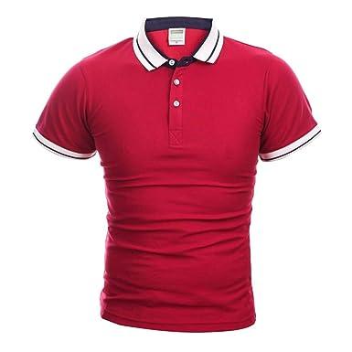 Summer Mens Casual Solid Color Summer Polo Shirts Men Short Sleeve ...