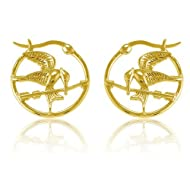 10mm X 8mm 14k Tri-color Gold Cubic Zirconia Frog Earrings//Set,