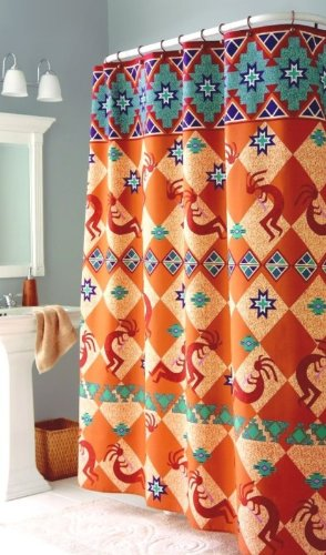 Kokopelli Southwest Indian Bath Fabric Shower Curtain
