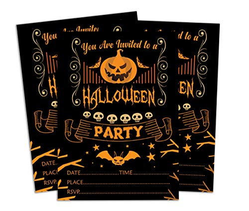 Darling Souvenir Black Halloween Invitation Card Printable Elegant Fill or Write in Blank Party Invites 28 Pcs -