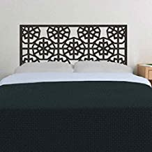 BATTOO Abstract Shabby Chic Geometric Headboard Wall Decal Star Snowflake Bed Wall Sticker Dorm Decoration(Dark Brown, Queen)