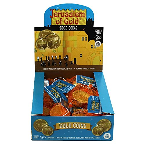 Kosher Nut-Free Milk Chocolate Coins Box of 24 .50 oz (14g) each, Total WT 12 oz(336g) (Candy Gold Coins)