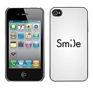 Sonrisa sonriente del Emoticon Inspiring texto blanco- Metal de aluminio y de plástico duro Caja del teléfono - Negro - iPhone 4 / 4S