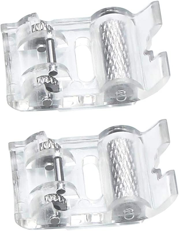 2 Pcs Roller Sewing Machine Presser Foot - Fits All Low Shank Snap-On Singer, Brother, Babylock, Euro-Pro, Janome, Kenmore, White, Juki, New Home, Simplicity, Elna and More