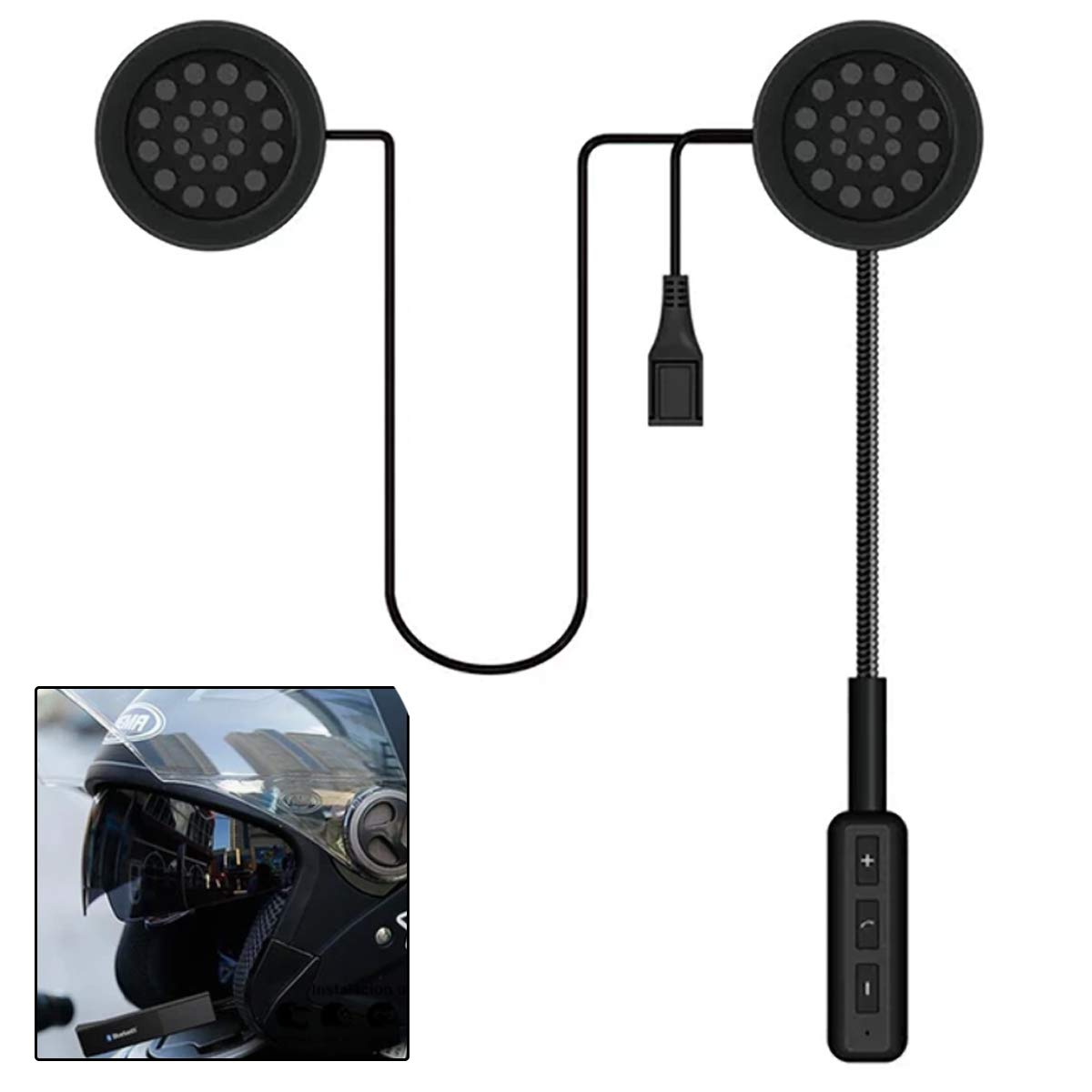 Phone Calls Music Maso 4.1 Motorcycle Headphone with Boom Microphone for Riders Intercom Helmet Bluetooth Headset Interphones