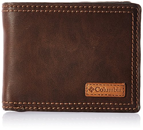 Columbia Men's Slim Security RFID Blocking Passcase Wallet, Dark Tan