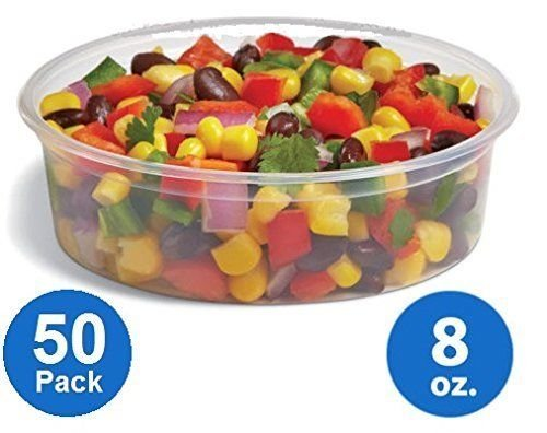 [50pk] Plastic Food Storage Containers with lids – Foodsavers Deli Cups / Foodsavers for Portion Control & Miscellaneous - Commercial Duty, Watertight & Leakproof (8oz, 50pcs)