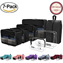 YAMIU Packing Cubes Travel Organizer with Shoe Bag & 2 Toiletry Bags (7-Pcs)