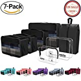 Packing Cubes YAMIU Travel Luggage Organizer Bags Travel Accessories Including 2-pack Waterproof Toiletry Bags and Shoe Bag for Women Men(7-Pcs)
