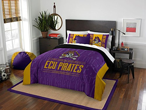 East Carolina Pirates - 3 Piece FULL / QUEEN SIZE Printed Comforter & Shams - Entire Set Includes: 1 Full / Queen Comforter (86