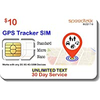 $10 GSM SIM Card for GPS Trackers - Pet Kid Senior Vehicle Tracking Devices - 30 Day Service