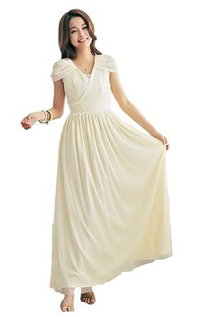 5153fa5bb7e77 (レディース &シープ)ladies and sheep 白 パーティー ドレス ロング フォーマル ワンピース マキシ 丈