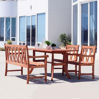 VIFAH Malibu 4 Piece Hardwood Arched Pattern Slat Back Dining Set with Rectangle Table, 4' Bench and 2 Arm (Arched Slat)